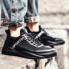 Platform Athletic Sneakers With Star & Lettering