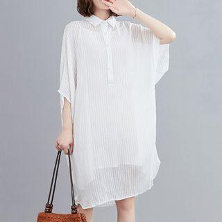 3/4-sleeve Striped Sheer Shift Shirtdress