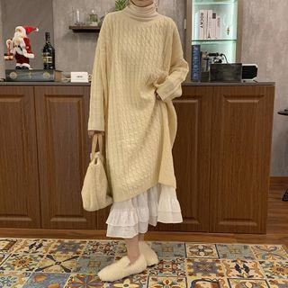 Long-sleeve Plain Cable Knit Dress / Long-sleeve High-neck Plain Top / Plain Layer Midi Skirt