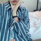 Color-block Striped Long-sleeve Blouse / Plain Long-sleeve Blouse