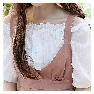 Off-shoulder Elbow-sleeve Blouse