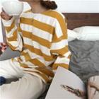 Long-sleeve Patch Stripe T-shirt