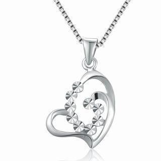 14k White Gold Openwork Diamond-cut Heart Necklace (16), Women Jewelry In Gift Box