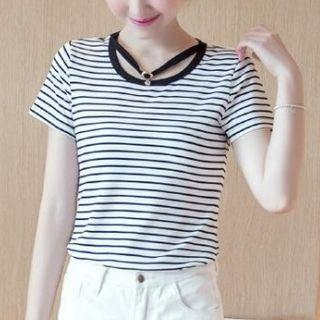 Short-sleeve Striped Cutout Top