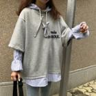 Mock Two-piece Striped Panel Hoodie Gray - One Size