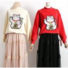 Lucky Cat-embroidered Velvet Pullover