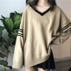 Striped Panel Oversize Sweater