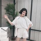 Set: Slashed Batwing Sleeve T-shirt + Shorts