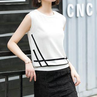 Sleeveless Contrast Lining Knit Top