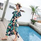Floral Print Ruffle-trim Maxi Tube Dress