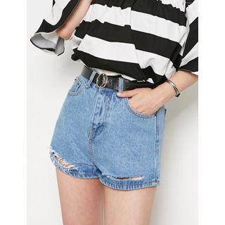 Distressed Denim Shorts With Belt