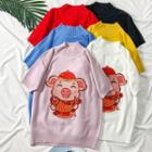 Lucky Pig-embroidered Knit Sweater