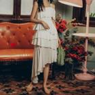 Sleeveless Asymmetric A-line Tiered Dress