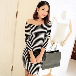 Asymmetric Long-sleeve Dress