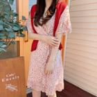 Frilled Floral Chiffon Wrap Dress