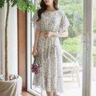 Ruffled Floral Chiffon Long Dress