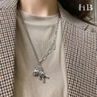 Bear Pendant Sterling Silver Necklace 1pc - Silver - One Size