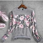 Long-sleeve Floral Panel T-shirt