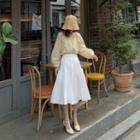 Long-sleeve Striped Blouse / A-line Dress