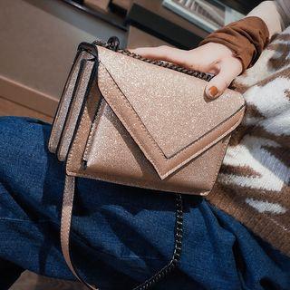 Chain Strap Glittered Flap Shoulder Bag