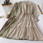 Ruffled-neckline Ruffled A-line Dress With Sash