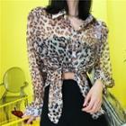 Leopard Print Long-sleeve Chiffon Light Jacket