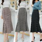 Plaid / Dotted Midi Mermaid Pencil Skirt