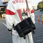Nylon Stitched Messenger Bag Black - One Size