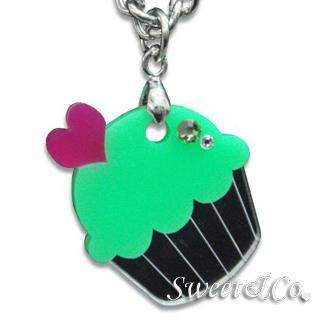 Sweet&co Mini Silver-green Cupcake Crystal Necklace Silver - One Size