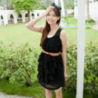Sleeveless Ruffle Chiffon Dress