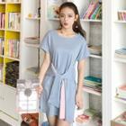 Tie Waist Short Sleeve T-shirt Dress