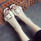 Buckled Faux Leather Slide Sandals