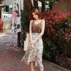 Set: Spaghetti-strap Top + Floral Chiffon Long Skirt