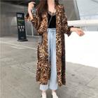 Animal Print Buttoned Long Coat / Spaghetti Strap Top