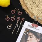 Rhinestone Heart Dangle Earring / Drop Earring / Fringed Earring