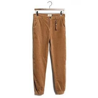 Gather-cuff Corduroy Pants