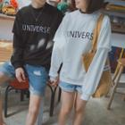 Mock Two-piece Letter Embroidered Long-sleeve T-shirt