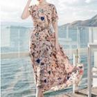 Flower Print Maxi Chiffon Dress