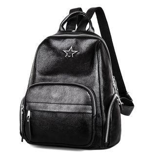 Star Applique Faux Leather Backpack Black - One Size