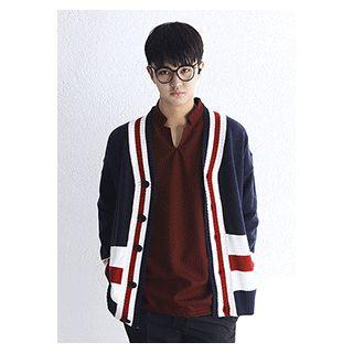 Couple Drop-shoulder Piped Knit Cardigan