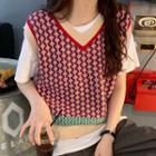 Argyle Knit Vest Vest - One Size