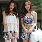 Set: Printed Bikini Top + Skirt + Lace Cover