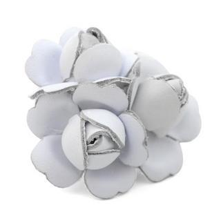 White Leather Flower Charm