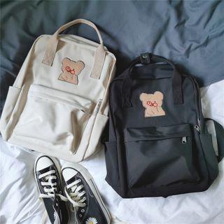 Bear Print Top Handle Backpack