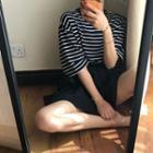 Striped Short-sleeve T-shirt / Layered A-line Skirt