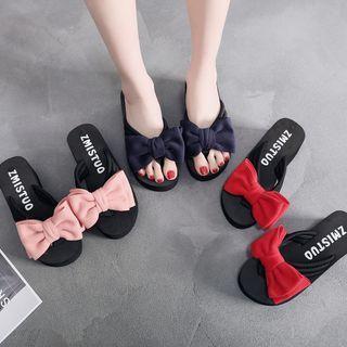Bow Applique Wedge-heel Platform Flip-flops