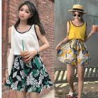 Tank Top / Floral Print Wide-leg Shorts