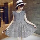 Sleeveless Check Ruffled Dress