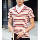 Mock Two-piece Short-sleeve Stripe Collared Top