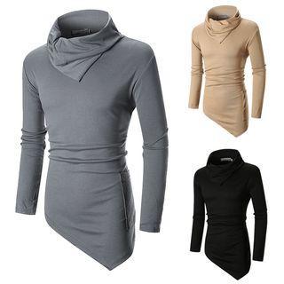 Long-sleeve Stand Collar Asymmetric Hem Knit Top